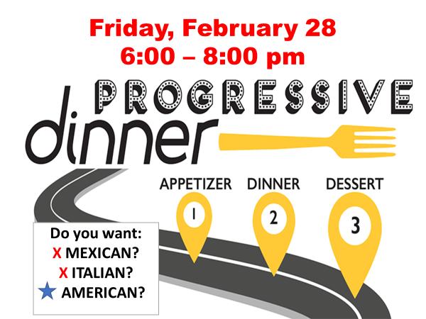 Progressive Dinner, Feb.
